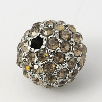 Black Diamond Platinum Tone Rhinestone Ball Beads, 12mm Round