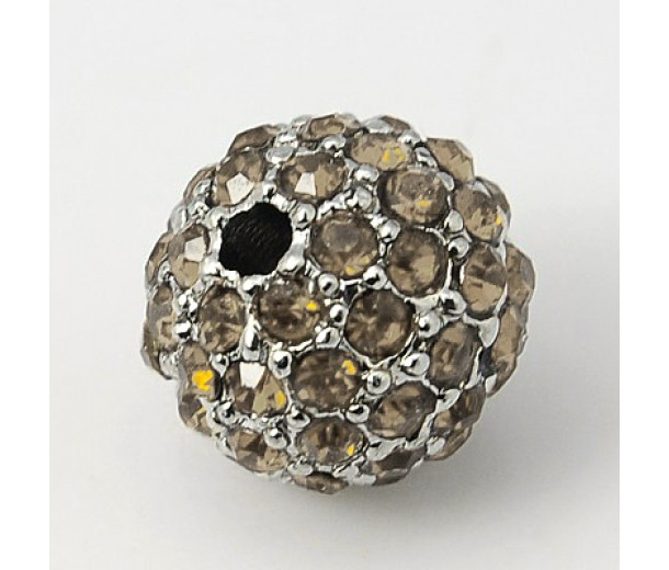 Black Diamond Platinum Tone Rhinestone Ball Beads, 12mm Round, Pack of 5
