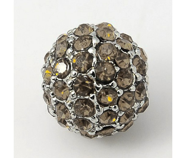 Black Diamond Platinum Tone Rhinestone Ball Beads, 12mm Round, Pack of 5