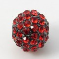 Light Siam Gunmetal Rhinestone Ball Beads, 10mm Round, Pack of 5