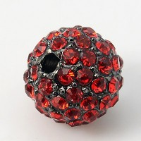 Light Siam Gunmetal Rhinestone Ball Beads, 12mm Round