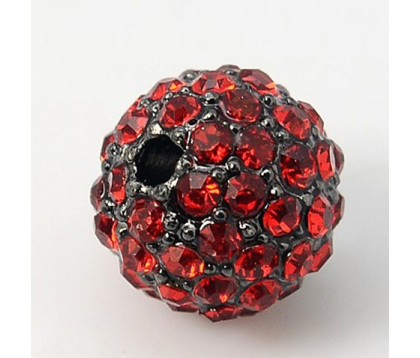Light Siam Gunmetal Rhinestone Ball Beads, 12mm Round, Pack of 5