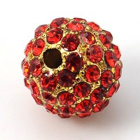 Light Siam Gold Tone Rhinestone Ball Beads, 12mm Round