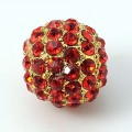 Light Siam Gold Tone Rhinestone Ball Beads, 12mm Round, Pack of 5