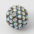 Crystal AB Gunmetal Tone Rhinestone Ball Beads, 12mm Round, Pack of 5