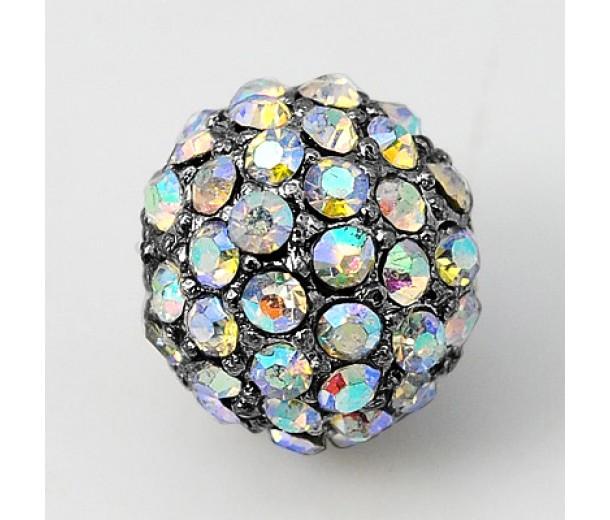 Crystal AB Gunmetal Tone Rhinestone Ball Beads, 12mm Round