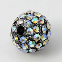 Crystal AB Gunmetal Tone Rhinestone Ball Beads, 12mm Round, Pack of 5