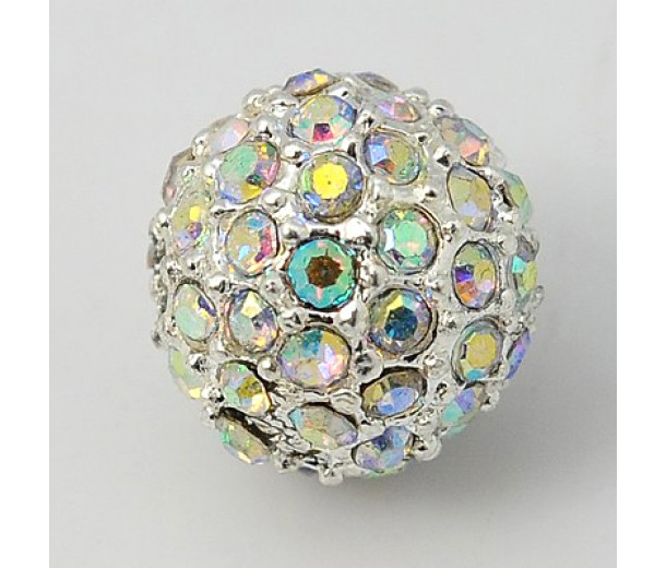 Crystal AB Silver Tone Rhinestone Ball Beads, 10mm Round, Pack of 5