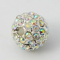 Crystal AB Silver Tone Rhinestone Ball Beads, 12mm Round, Pack of 5