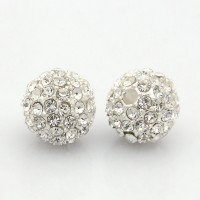 Crystal Silver Tone Rhinestone Ball Beads, 12mm Round