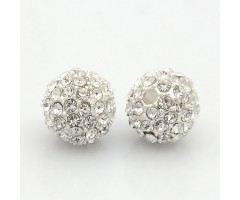 Crystal Silver Tone Rhinestone Ball Beads, 10mm Round, Pack of 5