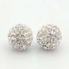 Crystal Silver Tone Rhinestone Ball Beads, 10mm Round