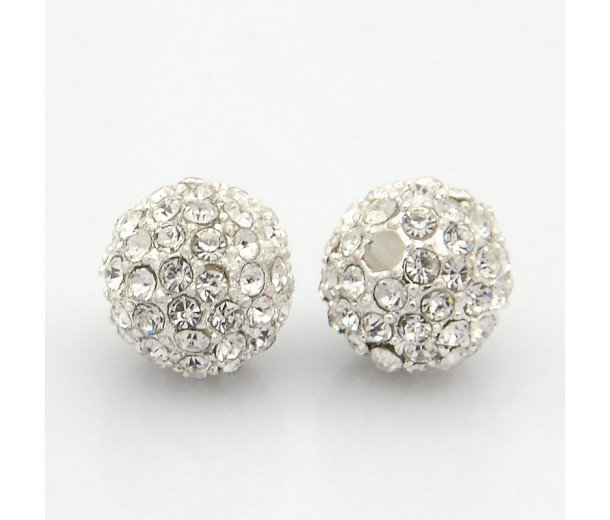 Crystal Silver Tone Rhinestone Ball Beads, 12mm Round, Pack of 5