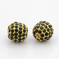 Jet Gold Tone Rhinestone Ball Beads, 10mm Round, Pack of 5