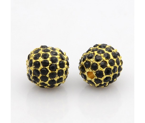 Jet Gold Tone Rhinestone Ball Beads, 10mm Round
