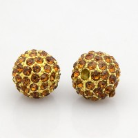 Topaz Gold Tone Rhinestone Ball Beads, 12mm Round