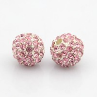 Light Pink Silver Tone Rhinestone Ball Beads, 12mm Round, Pack of 5