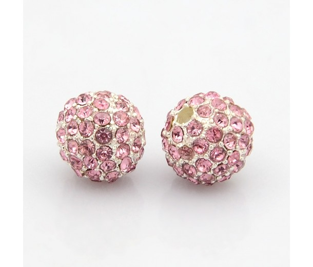 Light Pink Silver Tone Rhinestone Ball Beads, 10mm Round, Pack of 5