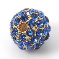 Light Sapphire Gold Tone Rhinestone Ball Beads, 10mm Round, Pack of 5