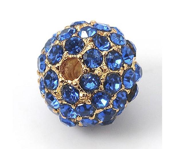 Light Sapphire Gold Tone Rhinestone Ball Beads, 10mm Round