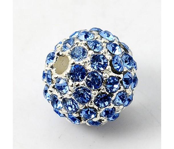Light Sapphire Silver Tone Rhinestone Ball Beads, 10mm Round