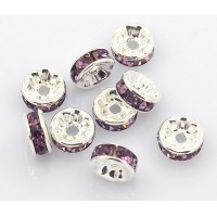 Amethyst Silver Tone Rhinestone Rondelle Beads, Straight Edge, 8x4mm