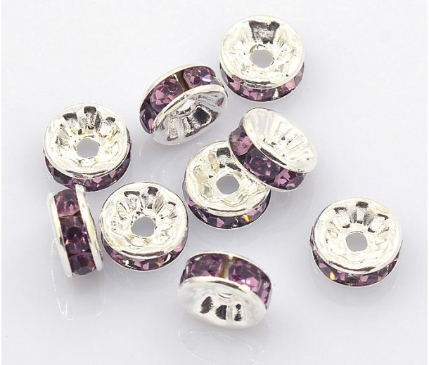 Amethyst Silver Tone Rhinestone Rondelle Beads, Straight Edge, 8x4mm, Pack of 10
