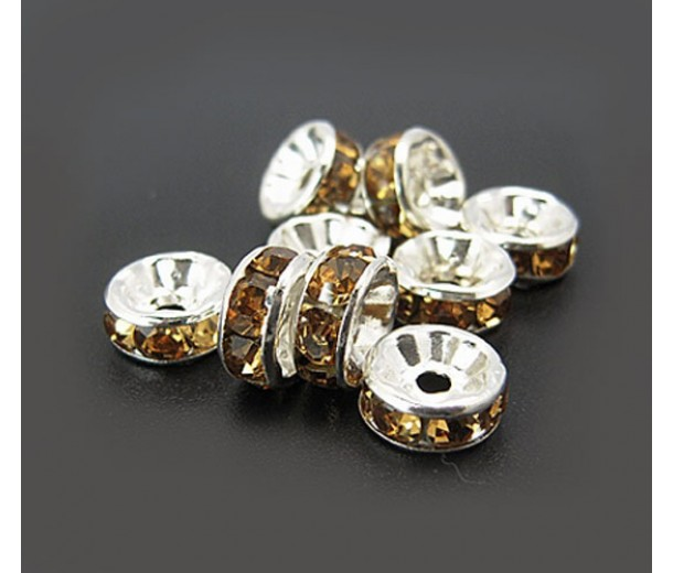Topaz Silver Tone Rhinestone Rondelle Beads, Straight Edge, 8x4mm