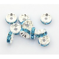 Light Blue Silver Tone Rhinestone Rondelle Beads, Straight Edge, 8x4mm