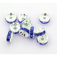 Sapphire Silver Tone Rhinestone Rondelle Beads, Straight Edge, 8x4mm, Pack of 10