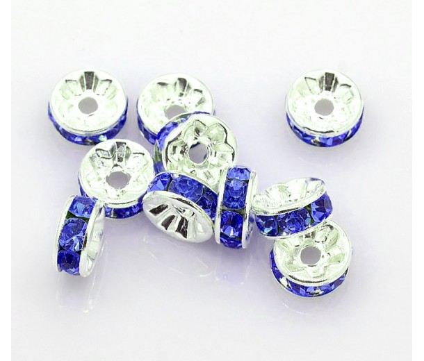 Sapphire Silver Tone Rhinestone Rondelle Beads, Straight Edge, 8x4mm
