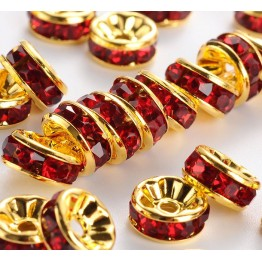 Siam Red Gold Tone Rhinestone Rondelle Beads, Straight Edge, 8x4mm