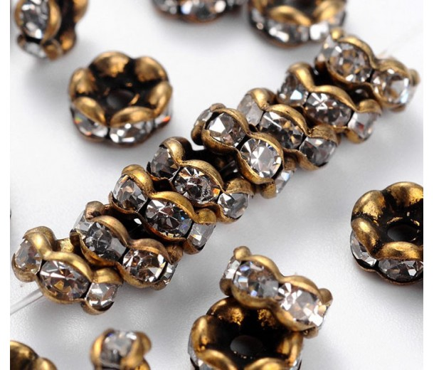 Crystal Antique Brass Rhinestone Rondelle Beads, Wavy Edge, 6x3mm, Pack of 20