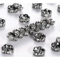 Crystal Gunmetal Rhinestone Rondelle Beads, Wavy Edge, 6x3mm