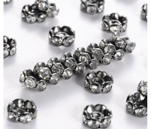 Crystal Gunmetal Rhinestone Rondelle Beads, Wavy Edge, 6x3mm, Pack of 20