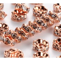 Crystal Rose Gold Tone Rhinestone Rondelle Beads, Wavy Edge, 6x3mm