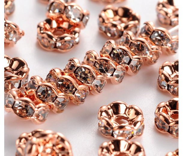 Crystal Rose Gold Tone Rhinestone Rondelle Beads, Wavy Edge, 6x3mm, Pack of 20