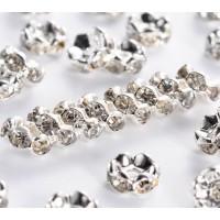 Crystal Silver Tone Rhinestone Rondelle Beads, Wavy Edge, 6x3mm