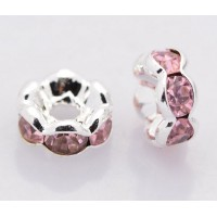 Light Rose Silver Tone Rhinestone Rondelle Beads, Wavy Edge, 8x4mm