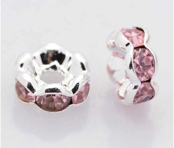 Light Rose Silver Tone Rhinestone Rondelle Beads, Wavy Edge, 8x4mm, Pack of 10