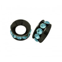 Aquamarine Gunmetal Rhinestone Rondelle Beads, 9mm, Pack of 10