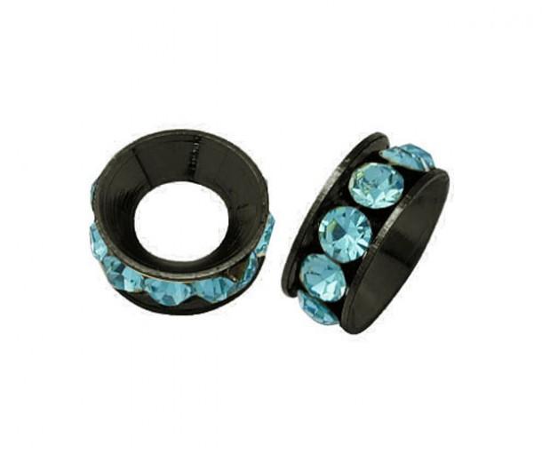 Aquamarine Gunmetal Rhinestone Rondelle Beads, 9mm