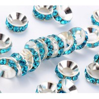 Aquamarine Silver Tone Rhinestone Rondelle Beads, 9mm, Pack of 10