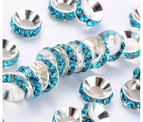 Aquamarine Silver Tone Rhinestone Rondelle Beads, 9mm
