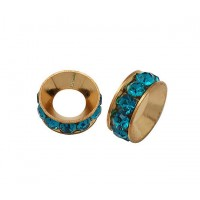 Teal Blue Rose Gold Rhinestone Rondelle Beads, 9mm, Pack of 10