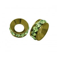 Peridot Antique Brass Rhinestone Rondelle Beads, 9mm, Pack of 10