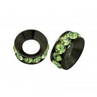 Peridot Gunmetal Rhinestone Rondelle Beads, 9mm