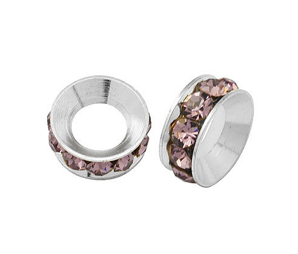 Light Amethyst Silver Tone Rhinestone Rondelle Beads, 9mm, Pack of 10