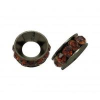 Smoky Topaz Gunmetal Rhinestone Rondelle Beads, 9mm