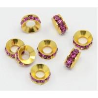 Fuchsia Pink Gold Tone Rhinestone Rondelle Beads, 9mm